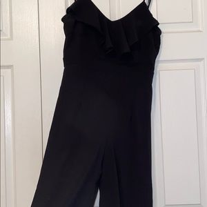 Black jumpsuit with ruffle top & adjustable straps